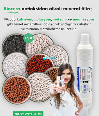 Biocera Antioksidan Alkali Su Filtresi (20 inch, giriş çıkış ½ inch 50 ton)