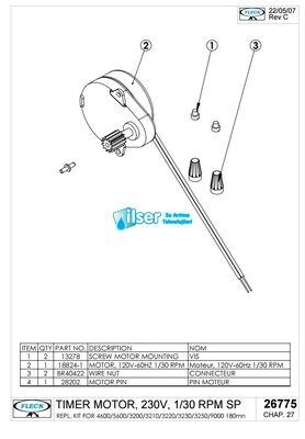 FL26775 Timer Motor 220 V 1/30 RPM